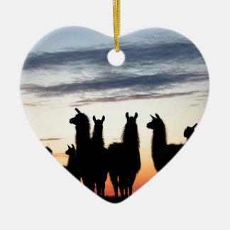 Prairie Llama silhouette Ceramic Ornament