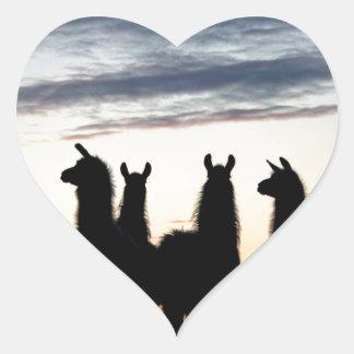 Prairie Llama silhouette Heart Sticker