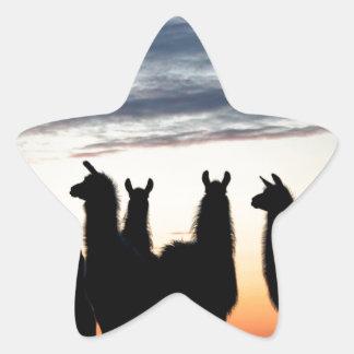 Prairie Llama silhouette Star Sticker