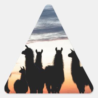 Prairie Llama silhouette Triangle Sticker