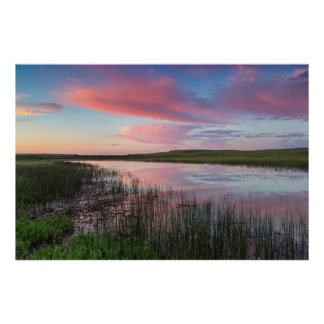 Prairie Pond Reflects Brilliant Sunrise Clouds Poster