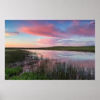 Prairie Pond Reflects Brilliant Sunrise Clouds Poster