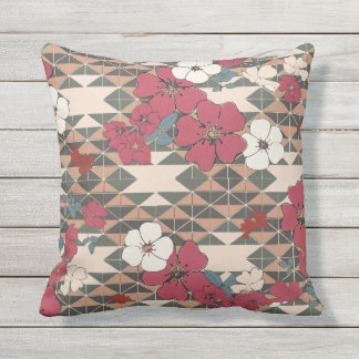 Prairie Rose Navajo pattern in pink and brown Throw Pillow