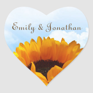 Prairie Sunflower Personalized Wedding Sticker