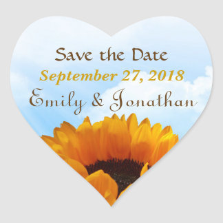 Prairie Sunflower Save the Date Heart Sticker