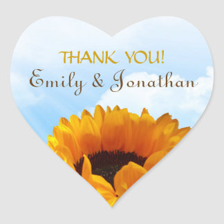 Prairie Sunflower Thank You Heart Sticker