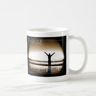 Praise feels good basic white mug