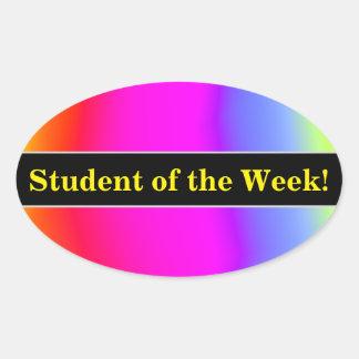 Praise + Fun Multicolored Rainbow-Like Pattern Oval Sticker