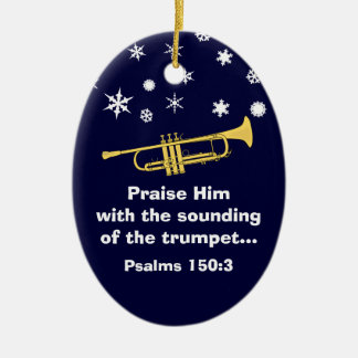 Praise Him With Trumpet Biblical At Christmas Ceramic Ornament