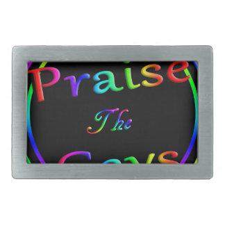 Praise the gays rectangular belt buckles