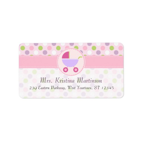 Pram and Polka Dots Address Label