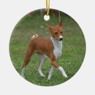 Prancing Basenji Dog Ceramic Ornament