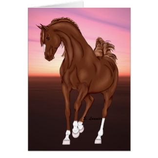 Prancing Chestnut Arabian Horse at Sunset Card
