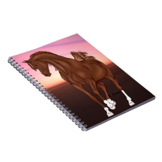 Prancing Chestnut Arabian Horse at Sunset Spiral Notebooks