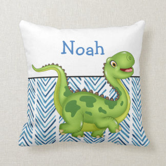 Prancing Dinosaur with Custom Monogram Throw Pillow