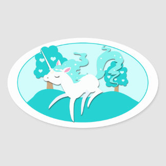 Prancing Unicorn in green forest Oval Sticker