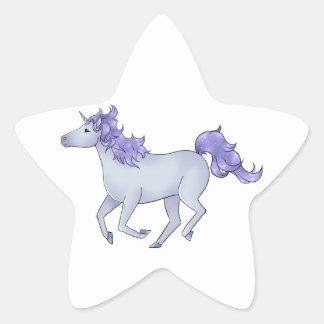 Prancing White Unicorn with Purple Sparkles Star Sticker