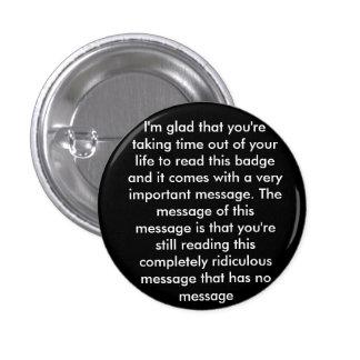 Prank 'message' badge 1 inch round button