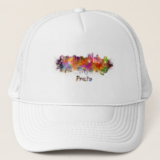 Prato skyline in watercolor trucker hat