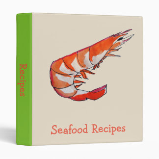 Prawn shrimp illustration seafood art recipe 3 ring binders