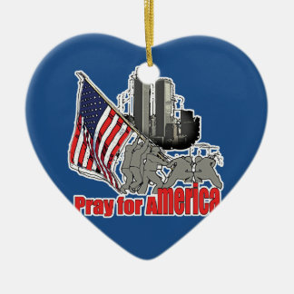Pray for america ceramic ornament