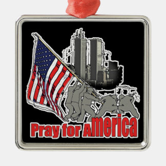 Pray for america metal ornament