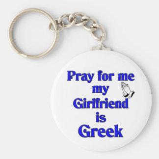 Pray for me My Girlfriend is Greek Keychain