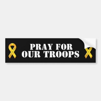 Pray for our Troops - Yellow Ribbon Bumper Sticker