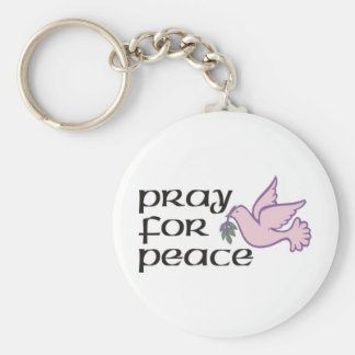 Pray For Peace Basic Round Button Keychain