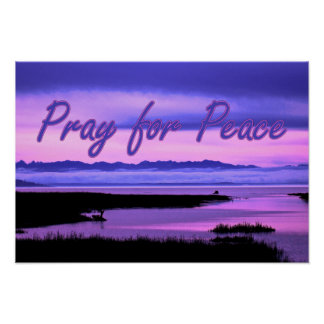 pray for peace (pink scenic) poster