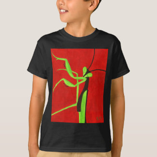 """Pray For Peace"" red & green Praying Mantis T-Shirt"