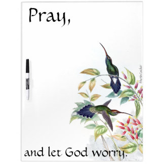 Pray Hummingbird Birds Flowers Dry Erase Board