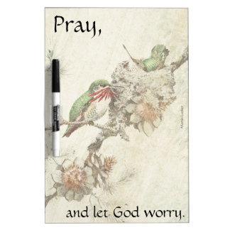 Pray Hummingbird Birds Pine Cones Dry Erase Board