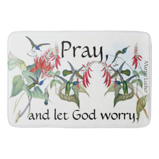 Pray Hummingbirds Birds Flowers Bath Mat