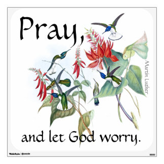 Pray Let God Worry Hummingbirds Flowers Wall Decal