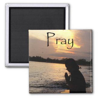 """Pray"" Magnet, Girl Praying on a Sunset Beach. Magnet"