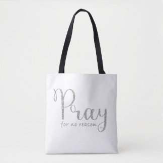 Pray Silver Glitter and Grey Tote
