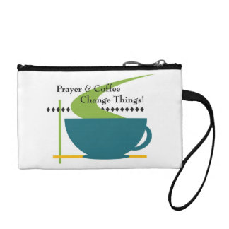 Prayer and Coffee Key Coin Clutch Coin Purses