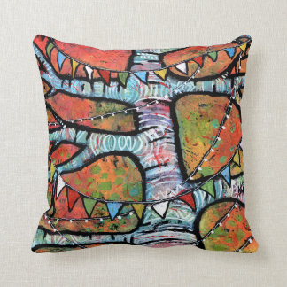 Prayer Flags and Twinkly Lights on Aspen Tree Throw Pillow
