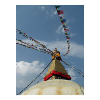 Prayer Flags Great Stupa of Boudhanath Poster