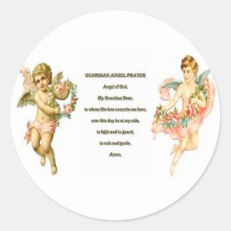 Prayer for Guardian angel Round Sticker