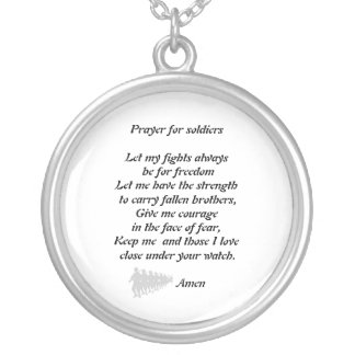 Prayer for soldiers silver plated necklace