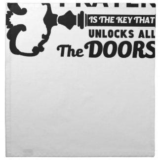 Prayer is the key to all doors napkin
