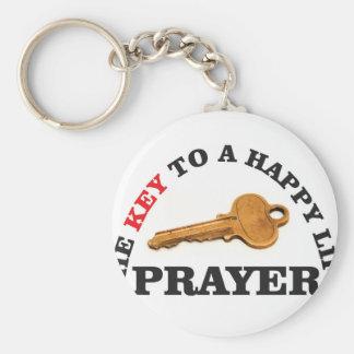 prayer key to happy life basic round button keychain