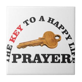 prayer key to happy life ceramic tile