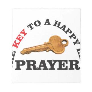 prayer key to happy life notepad
