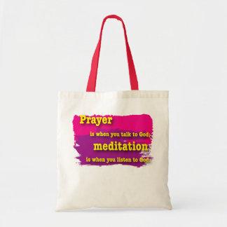 prayer, meditation budget tote bag