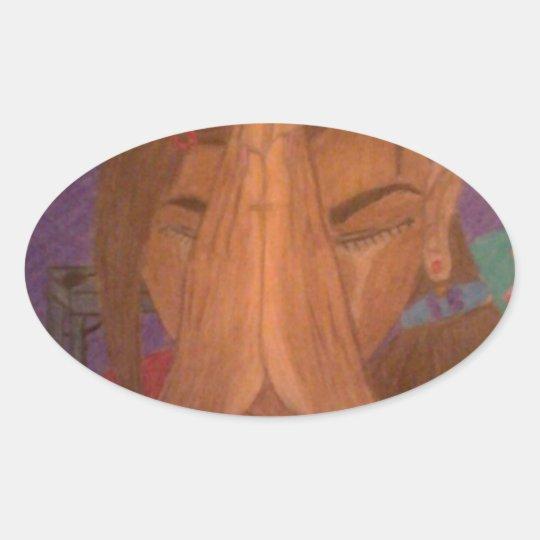 prayer oval sticker
