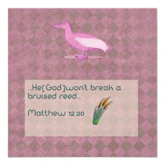 "Prayer scripture card with pink albatross 5.25"" square invitation card"