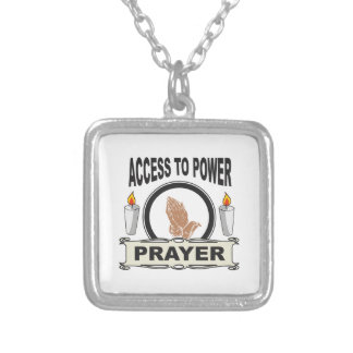 prayer the access to power silver plated necklace